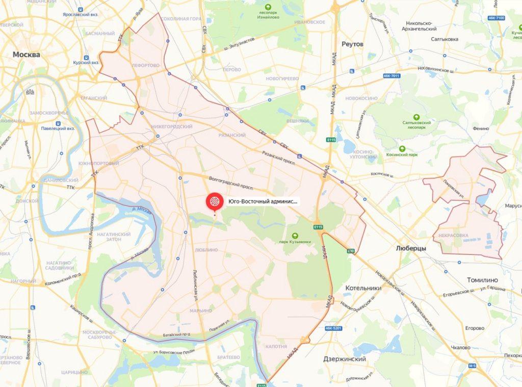 Открыть подробную карту ЮВАО