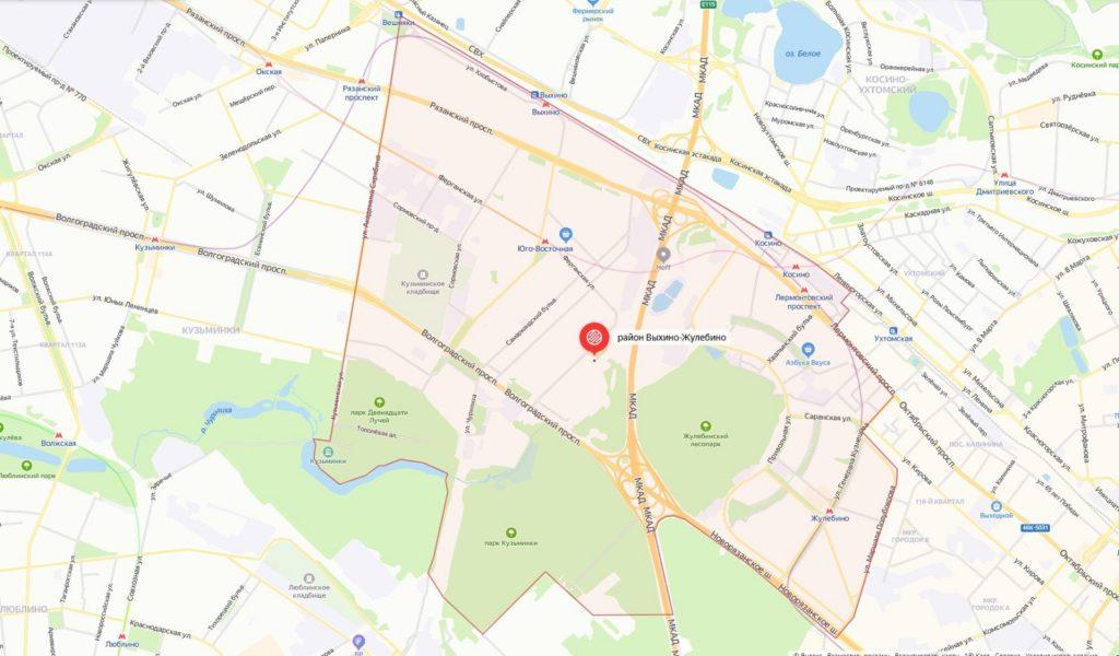 karta vyhino zhulebino 1024x600 - Район Выхино-Жулебино ЮВАО: описание, недвижимость, достоинства и недостатки